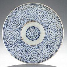 Blue and White Golden Horn Tondino Dish, Ottoman, Turkey (Iznik), 16th century.