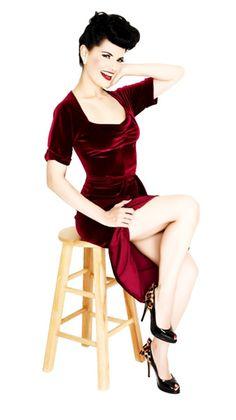 Lolita Girl Clothing - Gorgeous Stretch Burgundy Velvet Portrait Neck Holiday Dress!