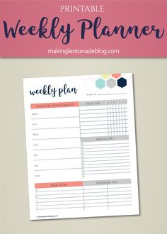 Slayyyyy those goals! This free printable weekly planner organizes your life with space to write your schedule, goals, to-dos, meal plan, and shopping list. Pairs with our free daily planner too; use both a be unstoppable!