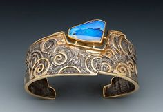 Cuff | Marne Ryan.  Australian Boulder Opal, 22 and 24k gold, sterling silver.