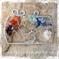 Chakra Crystal Tree of Life Pendant Long by TheGildedSpork on Etsy