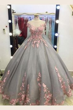 Unique Grey Long Ball Gown,Appliqued Cap Sleeves Prom Dress,Big Wedding Dresses,Grey Formal Evening Dress,Gray Quinceanera Dresses · OKProm · Online Store Powered by Storenvy Ball Gowns Prom, Ball Gown Dresses, 15 Dresses, Dress Prom, Party Dresses, Homecoming Dresses, 1940s Dresses, Flower Dresses, Couture Dresses