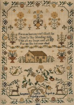 """Auctions:""""Susannah Smith April 19/Aged 10 years 1853,"""" worked in silk threads on a wool gauze ground, with a central pious verse and house surrounded by potted flowering plants, birds, deer, blossoms, and a bowknot over her signature, all enclosed in a geometric flowering vine, (scattered losses and toning to background, minor stains), 19 x 14 in., in a molded bird's-eye maple frame.  (Sale 2608M : Lot 1109 )"""