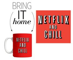 """Bring It Home: Netflix and Chill Mug"" by polyvore-editorial ❤ liked on Polyvore featuring interior, interiors, interior design, home, home decor, interior decorating and bringithome"