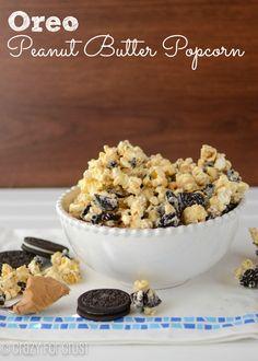 Oreo Peanut Butter Popcorn   crazyforcrust.com   #popcorn