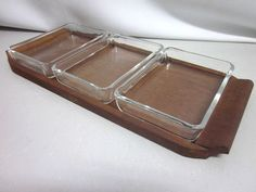 Danish modernist glass bowls on TEAK tray mid-century era Quistgaard 50s 60s
