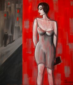 "Ola Lubczynska, ""Crime Story"", acrylic n canvas."