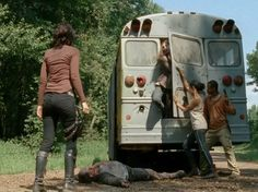 Maggie is adamant she must see if Glenn is on the bus, while Bob & Sasha are able to let out 1 walker at a time they soon overpower them spilling out of the bus, leaving no choice but to kill the walkers as quickly as they can for their own safety