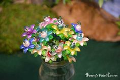 Miniature Beadwork Flowers Miniature Garden by PennysPixiePlanters