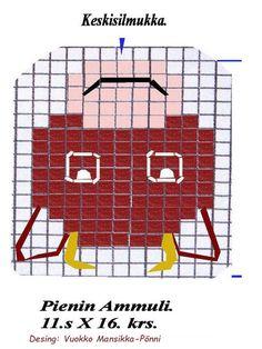 Kaavio pieneen lehmän naamaan. sukkiin ja lapasiin. Knitting, Tricot, Breien, Stricken, Weaving, Knits, Crocheting, Yarns, Knitting Stitches