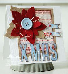 Patterned Paper - Papercrafts by Inge: Rood, Wit, Blauwe Kerstmis met MFT Die-namics