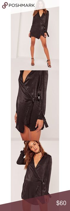 New tags gorgeous Hammered Satin Wrap Dress Black Brand new never worn! Ordered online a month ago and didn't wear for the event. Beautiful one of a kind Satin style long sleeve wrap over dress with adjustable waist belt. Super trendy. Size US 1 so between a 0 and 2. Missguided Dresses Mini