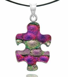 "Sterling Silver Dichroic Glass Pink and Light Pink Color Puzzle Piece Pendant Necklace on Stainless Steel Wire, 18"" Amazon Curated Collection. Save 11 Off!. $18.00. Made in Mexico"