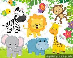 Jungle Friends Digital stamps Clipart | Etsy