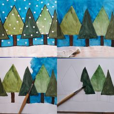 Top 40 Examples for Handmade Paper Events - Everything About Kindergarten Winter Girl, Winter Painting, Painting Trees, Tree Paintings, Winter Crafts For Kids, Winter Trees, Winter Snow, Tree Art, Step By Step Instructions