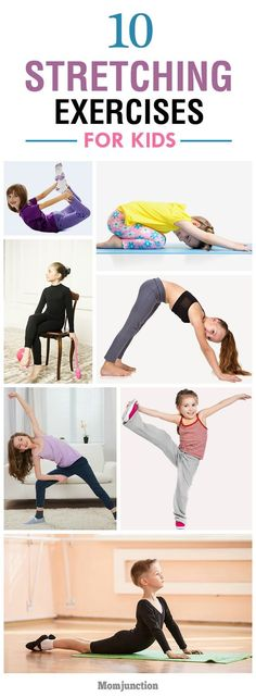 For kids Top 10 Stretching Exercises For Kids: here are ten brilliant stretching exercises to boost your kids energy levels and get him ready for exercise. Stretches For Kids, Stretching Exercises, Yoga For Kids, Exercise For Kids, Warm Up For Kids, Children Exercise, Kids Workout, Flexibility Stretches, Physical Exercise