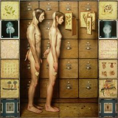 ''FLOS'' 2007, oil on wood,122 x 122 cm.  by Dino Valls