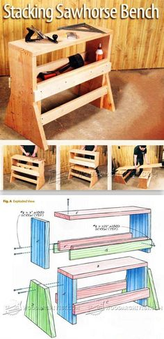 Stacking Sawhorse Bench - Workshop Solutions Plans, Tips and Tricks   WoodArchivist.com