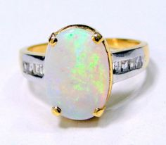 Estate vintage diamond opal 18k gold ring   7679 by TRIBALEXPORT, $799.00