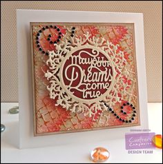 """Project by Giovana Smith.  Die'sire Dreams come true die. White Card Base 6""""x6"""". Kraft Cardstock. Gold Dust Shimmering Cardstock. Candy Red Shimmering Cardstock. Distress Grid Stencil. Dreamweaver Metallic Gold Embossing Paste. Dreamweaver Pearlescent embossing Paste. @CraftersCompUS"""