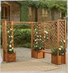 Garden Bench with planters - modefy: just build the bench side, omit the bench, take lattice all the way down, use the privacy (small hole) lattice. Grill can go in the middle and privacy issue on back porch solved :)