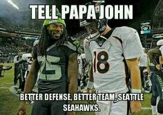 The battle between Richard Sherman and Peyton Manning could be the deciding one in Super Bowl XLVIII. (John Leyba/Getty Images) This season's Super Bowl is Seahawks Memes, Seahawks Gear, Seahawks Fans, Seahawks Football, Seattle Seahawks, Funny Football, Football Pics, Football Fever, Panthers Football