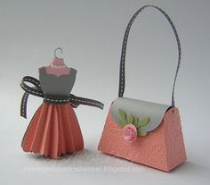 New Color Blog Hop 2 - 3 dimensional paper dress and paper purse