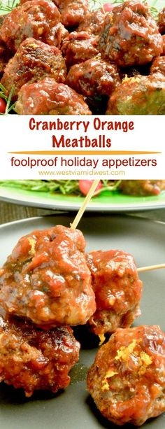 Spicy Cranberry Meatballs are the single easiest appetizer for entertaining.  Tender meatballs slow cooked in sweet cranberries with hints of orange and a little heat. #holiday #christmas #thanksgiving #appetizers #meatballs www.westviamidwest.com via @we Holiday Appetizers, Best Appetizers, Appetizer Recipes, Snack Recipes, Dinner Recipes, Easy Thanksgiving Appetizers, Appetizer Meatballs Crockpot, Appetizers With Meat, Meatball Appetizers