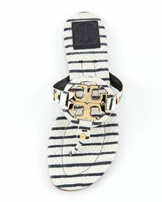 Tory Burch   Miller2 Snake-Print Thong Sandal, Navy/White - CUSP