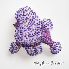 Beaded Purple MINIATURE POODLE dog art pin by thelonebeader, $95.00