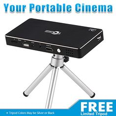 Home Theater Projector Pro DLP Smart Mini Pico Portable Video Projector HDMI Bluetooth WIFI Wireless Connectivity Support 1080p with Premium Osram RGB LED Free Tripod -- Read more reviews of the product by visiting the link on the image.
