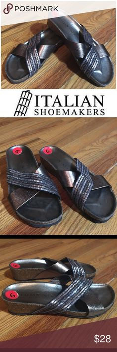 🆕 Italian Shoemakers Embellished Sandals Sz 6 Cute and comfy cork wedge sandals by Italian Shoemakers. Gently used with a Birkenstock feel. Color is pewter/bronze with shimmery embellishments on straps. EUC. Sz 6. Italian Shoemakers Shoes Sandals