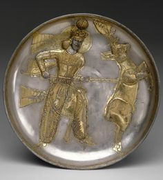Sassanid plate with the king Yazdgard I slaying a stag