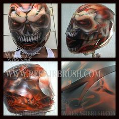 Airbrushed motorcycle helmets REK has been painting for as long as I can remember. I once tried to count how many helmets that he done, and after 500 or so I start to lose consciousness. There are just so many, this guy is an absolute beast. REKairbrush.com is where you can find his work and …