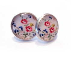 Wild Flowers Resin Silver Post Earrings by MyBlossomCouture