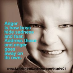 Anger is how boys hide sadness and fear. Address those and the anger goes away on its own.  [ Stay Inspired Teachers ] [ Get a bunch of FREE TEACHER TOOLS at http://imLhL.com ][ Get Laughspirations by email at http://www.Laughspiration.com ][ Teachers need to laugh and need to stay inspired. They need Laughspiration! ]