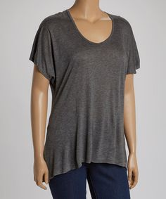 Another great find on #zulily! Charcoal Scoop Neck Hi-Low Tee - Plus #zulilyfinds