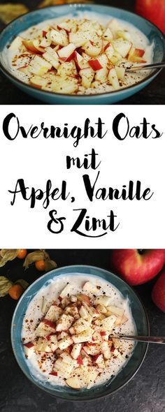 Vegan overnight oats with apple and cinnamon - healthy breakfast - # early . - Vegan overnight oats with apple and cinnamon – healthy breakfast – - Easy Brunch Recipes, Healthy Brunch, Healthy Dessert Recipes, Breakfast Recipes, Vegan Breakfast, Apple Breakfast, Oatmeal Recipes, Quick Recipes, Easy Snacks