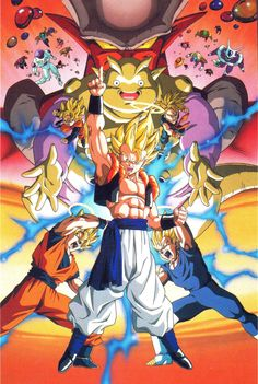"""Textless poster art for the 12th Dragon Ball Z movie """"The Rebirth of Fusion!! Goku and Vegeta"""". Art by Tadayoshi Yamamuro."""