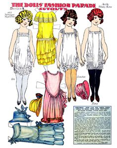 The Doll's Fashion Parade (Art by Penny Ross) 1923 Newspaper Paper Dolls.