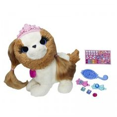 Pull the ears of the FurReal Friends Pets with Style Groom 'n Style Princess Pup to reveal long hair just waiting to be styled with the included barrettes and jewels.