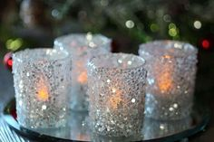 Dazzle your guests with these silver sequins votive holders. 2 Inch Diameter x Inch Tall Set of 4 Glass Covered With Silver Sequins Tea Lights Sold Glitter Candle Holders, Candle Favors, Diy Centerpieces, Diy Wedding Decorations, Bling Centerpiece, Hall Decorations, Prom Decor, Decor Wedding, Wedding Colors