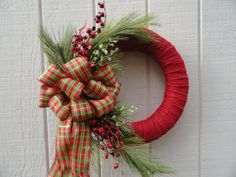 Christmas Wreath Berries and Bow  Wreath Christmas by OursSolely, $42.99