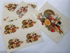 4 sheets Meyercord Decorator Decals basket of fruit vegetables herbs and dogwood flowers harvest kitsch