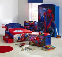 Kids Bedroom, Attracting and Creative Compact Boys Room : Spiderman Character With Compact Bedding