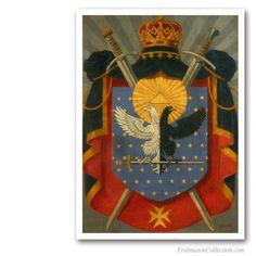 Knight Kadosh Symbolic Coat of Arms. Circa 1930. Rare Portrayal of Scottish Rite 30thDegree Cres. Scottish Rite.