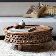 Carved Wood Coffee Table - Natural Handcrafted $349