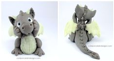 Here is a redo of Draco the Dragon fav.me/dxitm7 The Dragon is hand sculpted in cold porcelain clay. The clay of the wings, horns and belly is translucent with glow in the dark nail polish and glit...