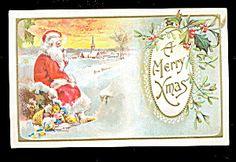 Santa Claus Sitting Merry Christmas 1907 Postcard