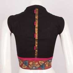 Handcrafted Cotton Blouse With Sleeveless & Collar Neck 10013440 - Size 40 - AVISHYA.COM